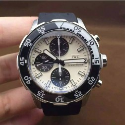 Best Swiss Made IWC Aquatimer Watch 44mm Silver Case White Dial with Black Sub Dials SIW103