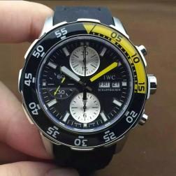 AAA Swiss Made IWC Aquatimer Watch 44mm Silver Case Black Dial Black Yellow Bezel SIW104