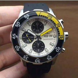 AAA Swiss Made IWC Aquatimer Watch 44mm Silver Case White Dial Black Yellow Bezel SIW105