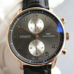 AAA Replica Swiss Made IWC Portuguese 40mm Rose Gold Case with Diamonds SIW108