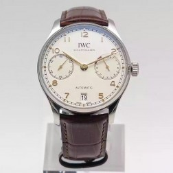 Exact Copy IWC Portuguese IW500704 Swiss Movement 42mm White Dial with Leather Straps SIW112