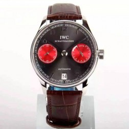 1:1 Replica IWC Portuguese 7 Days Swiss Made 42mm SS Case Grey Dial with Red Sub Dials SIW114