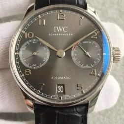 1:1 IWC Portuguese 7 Days Swiss Made 42mm SS Case Grey Dial with Black Straps SIW116
