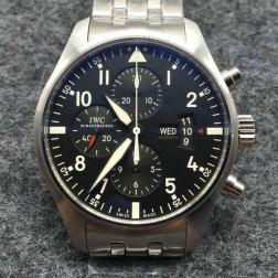 Replica IWC Pilots Chronograph 377701 Black Dial 43mm Swiss Movement SIW120