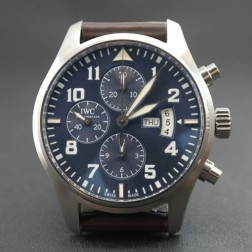 Replica IWC Pilots Chronograph 377706 Blue Dial Brown Leather Strap 43mm Swiss Movement SIW121