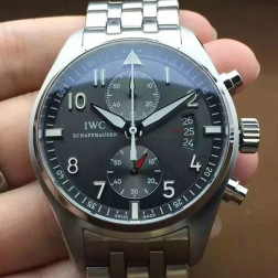 AAA Replica IWC Pilots Chronograph 387802 Gray Dial 43mm ss Bracelet Swiss Movement SIW123