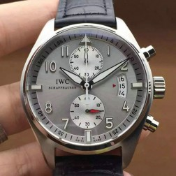 Top Replica IWC Pilots Chronograph 387802 Gray Dial with White Sub Dials 43mm SIW124