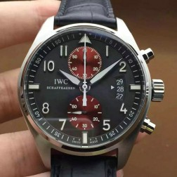 Top Replica IWC Pilots 387802 Gray Dial with Red Sub Dials Black Leather Strap SIW125