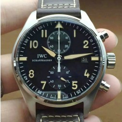 Best Swiss Replica IWC Pilots 387808 Black Dial Brown Leather Strap 43mm SIW126
