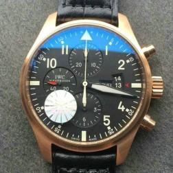 Best Swiss Replica IWC Pilots 377701 Rose Gold 43mm Black Dial Black Leather Strap SIW127