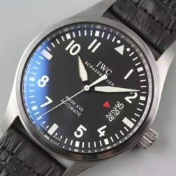 Swiss Made IWC Mark XVII MKF Watch Black Dial Leather Straps 41mm SIW128