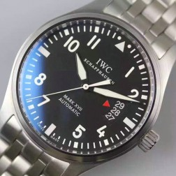 Swiss Made IWC Mark XVII MKF Watch 41mm Black Dial Stainless Steel Bracelet SIW129