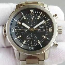 Swiss Replica IWC Aquatimer Watch IW376803 Black Dial Stainless Steel Bracelet SIW132