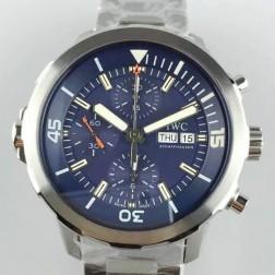 Swiss Replica IWC Aquatimer Watch IW376802 Blue Dial Stainless Steel Bracelet SIW134