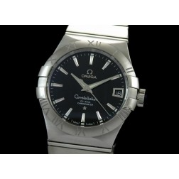Replica Omega Constellation Men Watch Black Dial Stainless Steel Case Swiss Movement SOC001