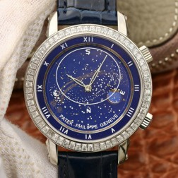 Best 1:1 Mirror Replica Patek Philippe Celestial 5102G Moonphase Watch Blue Dial SPP003