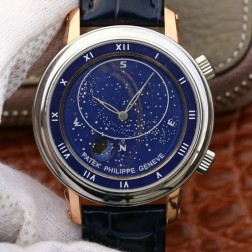 Best 1:1 Mirror Replica Patek Philippe Celestial 5102G Moonphase Rose Gold Watch Blue Dial SPP006
