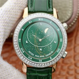 Best 1:1 Mirror Replica Patek Philippe Celestial 5102G Moonphase Rose Gold Watch Green Dial SPP008
