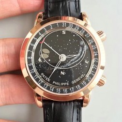 Best 1:1 Mirror Replica Patek Philippe Celestial 6102R-001 Moonphase Rose Gold Watch Black Dial SPP009