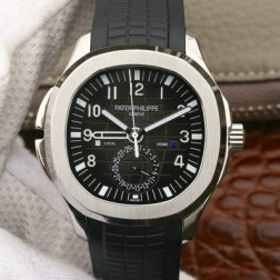 Swiss Made 1:1 Mirror Replica Patek Philippe Aquanaut Travel Time 5164A Black Dial SPP030