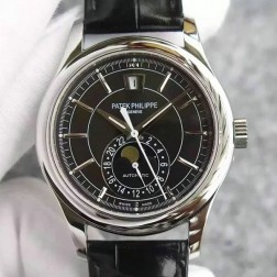 1:1 Mirror Replica Patek Philippe Complications Moon Phase Black Dial Swiss Made Watch SPP055