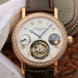 1:1 Mirror Replica Patek Philippe Moon Phase Rose Gold Swiss Made Tourbillon Watch SPP059