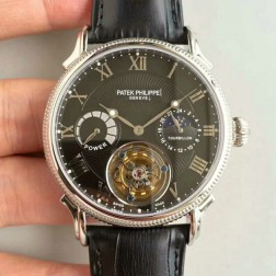 1:1 Mirror Replica Patek Philippe Black Dial Swiss Made Tourbillon Watch SPP063