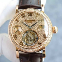 1:1 Mirror Replica Patek Philippe Moon Phase Rose Gold Diamonds Dial Swiss Made Tourbillon Watch SPP064