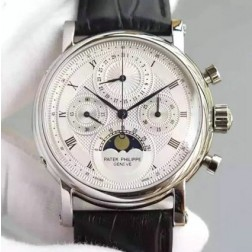 1:1 Mirror Replica Patek Philippe Chronograph Complications Watch Moon Phase Dial Swiss Made SPP068
