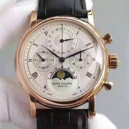 1:1 Mirror Replica Patek Philippe Chronograph Complications Rose Gold Watch Moon Phase Dial Swiss Made SPP069