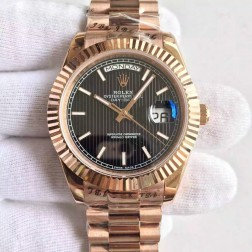 New Best Swiss Made Rolex Day-Date II Rose Gold Case Black Tuxedo Style Dial 1:1 Mirror Quality SRDD113