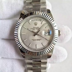 New Best Swiss Made Rolex Day-Date II Silver Tuxedo Style Dial Fluted Bezel 1:1 Mirror Quality SRDD114