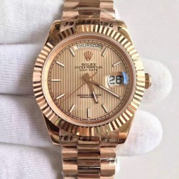 New Best Swiss Made Rolex Day-Date II Rose Gold Case Rose Gold Tuxedo Style Dial 1:1 Mirror Quality SRDD115