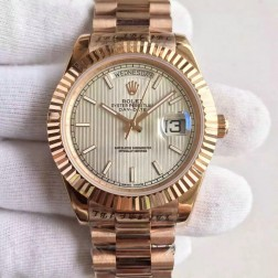 New Best Swiss Made Rolex Day-Date II Rose Gold Case Silver Tuxedo Style Dial 1:1 Mirror Quality SRDD117
