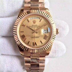 New Swiss Made Rolex Day-Date II 228239 Rose Gold Case and Dial Fluted Bezel 1:1 Mirror Quality SRDD128