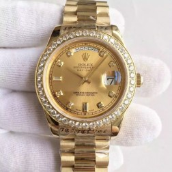 New Swiss Made Rolex Day-Date II 18K Yellow Gold Case Gold Dial with Diamonds 1:1 Mirror Quality SRDD130