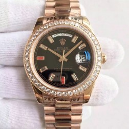 New Swiss Made Rolex Day-Date II Rose Gold Case Black Dial with Diamonds 1:1 Mirror Quality SRDD132
