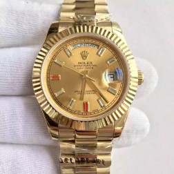 New Swiss Made Rolex Day-Date II 18K Yellow Gold Case Gold Dial with Diamonds 1:1 Mirror Quality SRDD133