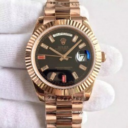 New Swiss Made Rolex Day-Date II Rose Gold Case Black Dial with Diamonds 1:1 Mirror Quality SRDD134