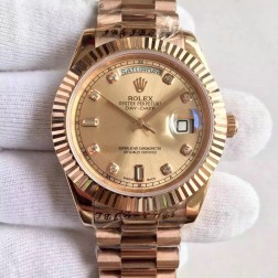 New Swiss Made Rolex Day-Date II Rose Gold Case and Dial with Diamonds Fluted Bezel 1:1 Mirror Quality SRDD135