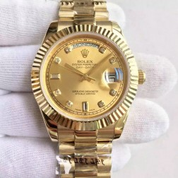New Swiss Made Rolex Day-Date II 18K Yellow Gold Case Gold Dial with Diamonds 1:1 Mirror Quality SRDD136
