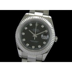 Replica Rolex Datejust II Men Watch Black Dial Diamonds Numerals Oyster Bracelet SRDJ002