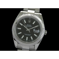 Replica Rolex Datejust II Men Watch Black Dial White Stick Numerals Oyster Bracelet SRDJ004