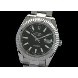 Replica Rolex Datejust II Men Watch Black Dial White Stick Numerals Oyster Bracelet SRDJ004