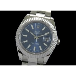Replica Rolex Datejust II Men Watch Blue Dial White Stick Numerals Oyster Bracelet SRDJ006