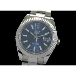 Replica Rolex Datejust II Men Watch Blue Dial White Stick Numerals Oyster Bracelet SRDJ006