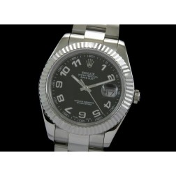 Replica Rolex Datejust II Men Watch Black White Arabic Numerals 41mm Oyster Bracelet SRDJ008
