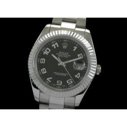 Replica Rolex Datejust II Men Watch Black White Arabic Numerals 41mm Oyster Bracelet SRDJ008