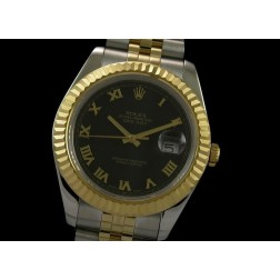 Replica Rolex Datejust II Men Watch Black Dial 18K Yellow Gold Bezel Jubilee Bracelet SRDJ012