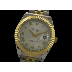 Replica Rolex Datejust II Men Watch Silver Dial 18K Yellow Gold Bezel Jubilee Bracelet SRDJ013